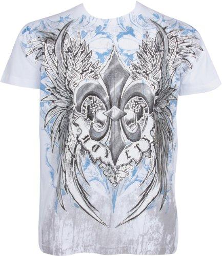 Sakkas Royalty Fleur de Lis T-Shirt aus Baumwolle für Männer Schwarz Weiß