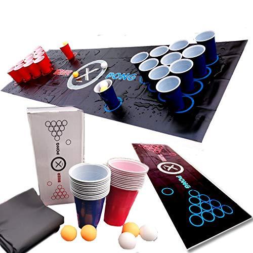 Beer-Pong Trinkspiel Matte (180 x 60 cm) KOMPLETT-SET inkl. 22 x Cups Becher rot / blau, 6 x Bälle! weiß /orange und Regelwerk / Spielregeln - Für draussen und drinnen - Tisch / Bierzelt Garnitur