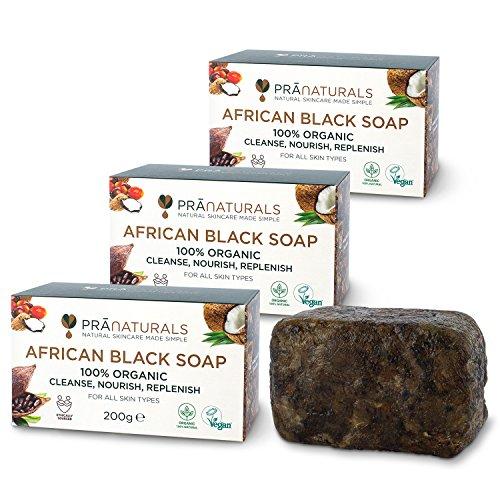 Pranaturals - sapone nero africano 3 x 200 g, grezzo e 100% organico, saponetta da 200 g, eticamente ottenuto e realizzato a mano in ghana, adatto per tutti i tipi di pelle