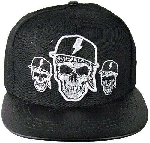Cap - Snapback Cap - Base Cap - Schirmmütze - Cappy - Totenkopf Style - Skull - One Size - in Schwarz Oder Grau (Schwarz)