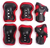 Kids Protective Gear,Knee Elbow Pads and Wrist Child's Pad Set for Inline Roller Skating Biking Sports Safe Guard By Sunshine D 6pcs for BMX/ Skateboard / Scooter/ Skate 2-12 Years Red and Black