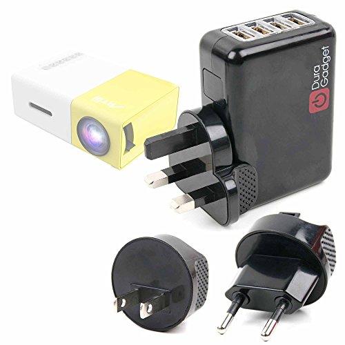 DURAGADGET Kit De Adaptadores con Cargador para Proyector Deeplee DP300 - ¡para Que Pueda Conectar Su Smartphone Alrededor del Mundo