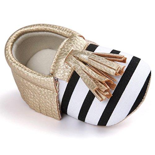 Hunpta Neue jungen Lauflernschuhe Baby-Krippe Quasten Bowknot Schuhe Sneakers Casual Babyschuhe (13, Braun) Gold