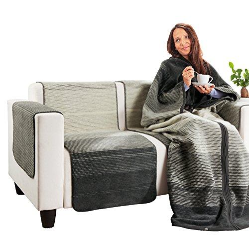 Ibena Sesselschoner Baumwollmischung grau Größe 50x200 cm