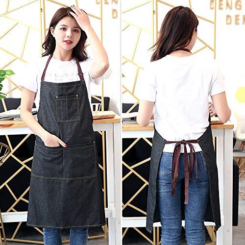 Leobtain Robuste Denim-Schürze Küchenschürze mit DREI großen Taschen und Schnellverschluss für Unisex-verstellbare Schürze für Familienarbeit Kochen BBQ und Grill - Utility-jeans-arbeit Jean