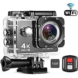 Cámara Deportiva 4K Wifi, iLifeSmart Cámara Deporte Accion Full HD 60fps con Pantalla LCD de 2 Pulgada, Gran Angular de 170° con Accesorios