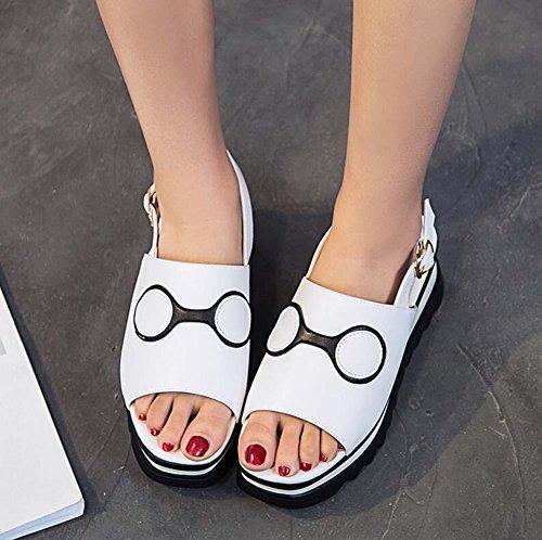 5,5 centimetri Tacco a cuneo Pelle sandalo D'Orsay Spessore inferiore sandali Scarpe da sera Donne Peep Toe Cavo Cinturino alla caviglia Scarpe casual Scarpette Scarpe da ascensore Dimensioni Eu 34-40 White