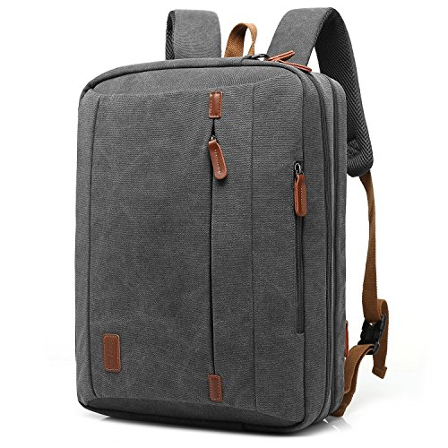 CoolBell 17,3 Zoll umwandelbar Laptop Tasche/Rucksack Messenger Bag Canvas Gewebe Umhängetasche Business Briefcase Backpack Mehrzweck Aktentasche für Laptop/MacBook/Tablet/Herren/Damen(Dunkel Grau)