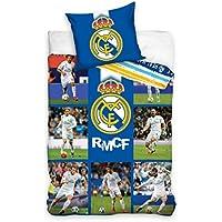 Oficial F.C. Real Madrid Barcelona Messi - Juego de funda nórdica y funda de almohada (140 x 200 cm, 70 x 80 cm, 100% algodón), algodón, Real Madrid 140 x 200cm