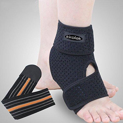 KIROLAK Ankle Support Respirable Tobillo Manga con Ajustable Wraps Ankle Brace Soporte Protector para Corredor de Baloncesto y Alivio del Dolor Esguince - Pie derecho