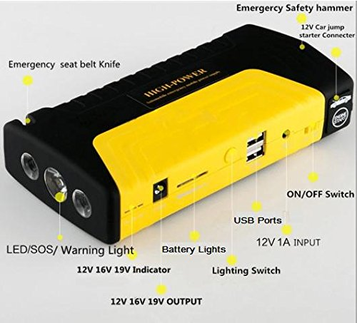 kikar CE Portable Compact 5-in-1 Jump Starter Super Charger Power Bank con 600 A Pico de corriente – Cargador de Coche Jump Start, móvil/tablet/laptop/Juego, martillo, cortador de cinturón de seguridad y linterna/SOS Luz Todo en Uno.