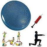Xemz, Disco per Equilibrio di stabilità con Pompa a Mano, Cuscino Gonfiabile per Esercizi, Sedia Gonfiabile per Bambini, Supporto Lombare, Supporto per Sedia da Ufficio in Classe, Blue