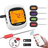 Grillthermometer Bluetooth, Digital Wireless BBQ Thermometer Grill mit 4 Sonden, Funk Thermometer Bratenthermometer Fleischthermometer Set für Küche, Smoker, Steak,...