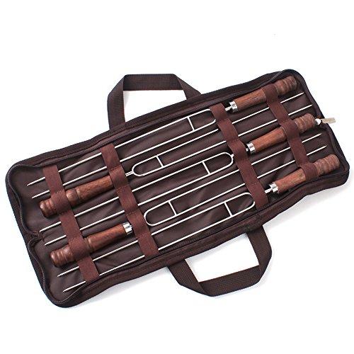 Preisvergleich Produktbild kuaetily BBQ Grillspieße Set,  Edelstahl Barbecue Gabel Doppelspieße Wurstgabel mit Massivholzgriff für Marshmallows Lagerfeuer Barbecue