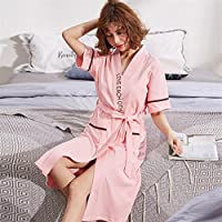 GYwink Toalla de Hotel Par de Verano de Manga Corta Albornoz Inglés patrón camisón de algodón