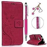 HTC One Mini 2 / M8 MINI Hülle, PU Leder Filp Tasche Case : Book Type Handyhülle Druck PU Leder mit Soft TPU Innere Schutzhülle in Rose rot + Touch Pen + Stöpsel Staubschutz
