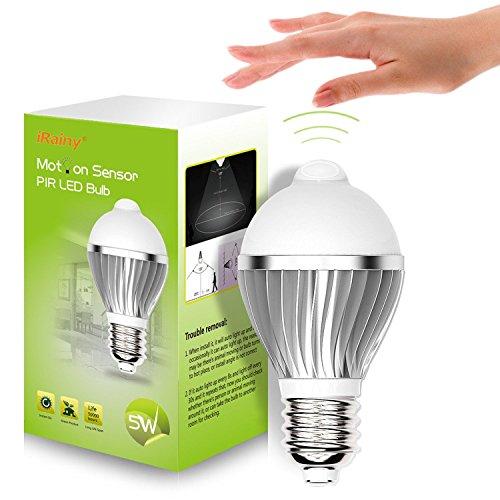 iRainy-E27-5W-Lampadine-a-LED-con-Sensore-di-Movimento-Bianco-Caldo