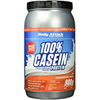 Body Attack 100% Casein Protein Strawberry Cream, 1er Pack (1 x 900 g)