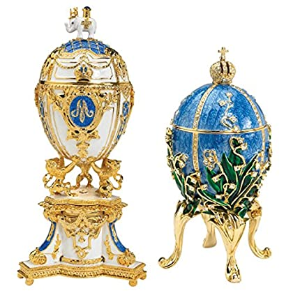 Design Toscano Empress Valentina and Empress Galina Romanov Style Collectible Enamelled Eggs, 24 cm, Set of Two, Pewter, Blue and White