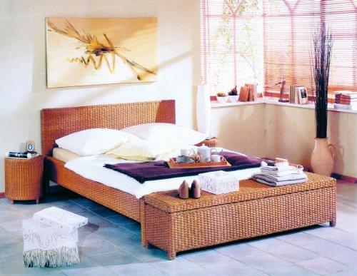 Hansen 3869/180 Rattan-Bett in honig gebeizt Liegefläche 180 x 200cm -