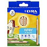 Lyra 3611120 - Ferby Farbstift natur, Pappetui 12 sortierte Farben, kurz