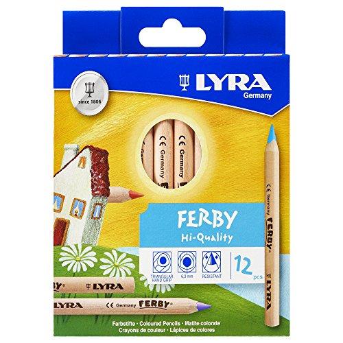Lyra 3611120 - Ferby Farbstift natur, Pappetui 12 sortierte Farben, kurz -