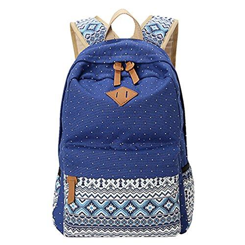 MingTai-Backpack-Mochilas-Escolares-Mujer-Mochila-Escolar-Lona-Grande-Bolsa-Estilo-tnico-Vendimia-Lunares-Casual-Colegio-Bolso-Para-Chicas