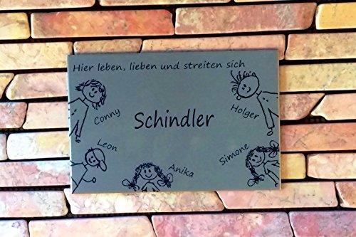 Familienschild /Namensschild / Türschild in Edelstahl gebürstet, in mehreren Größen lieferbar, selbstklebend, oder mit Bohrungen lieferbar (300x250mm)