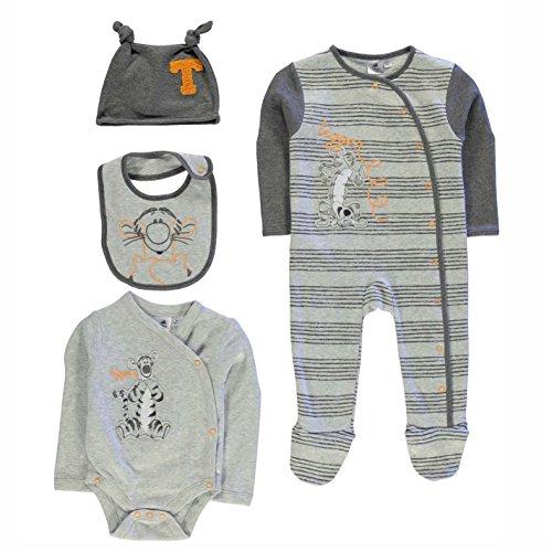 Character Kinder Baby 4 Teile Set Strampler Body Muetze Latz Baumwolle Motiv Tigger 6-9 Mnth (Seide - Bluse Knopf-front Aus)