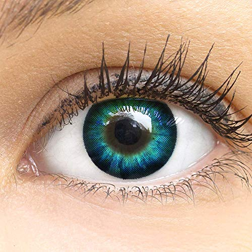 Meralens blaue blue Circle Lenses Cool Blue mit Behälter mit Stärke Big Eyes 15mm farbige honig braune Kontaktlinsen (0,00)