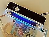2 Stück im Set Mobiler Geldscheinprüfer UV MINI Plus mit 4 Watt starker UV Lampe und Taschenlampenfuktion