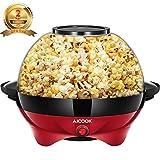 Aicook Macchina Pop Corn, 5L Macchina per Popcorn con Rivestimento con Antiaderente, Staccabile, Silenzioso e Rapido, Senza BPA