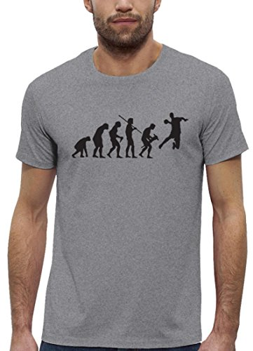 Handballer EM WM Premium Herren T-Shirt aus Bio Baumwolle EVOLUTION HANDBALL Stanley Stella Heather Grey