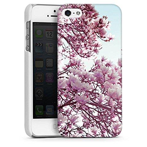 Apple iPhone 5s Housse Étui Protection Coque Feuilles Fleurs Printemps CasDur blanc