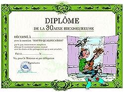 Gaston Lagaffe Geburtstagskarte Diplom de la 30aine Bienheur - Gitarre im Fenster Musik singen Lied Geburtstag Tiere Katze Möwe