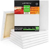 Arteza Lienzo para pintar cuadros | 20,32 x 25,4 cm | Pack de 12 | 100% algodón | Lienzos en blanco para óleo, acrílicos y acuarelas | para artistas profesionales, aficionados y principiantes
