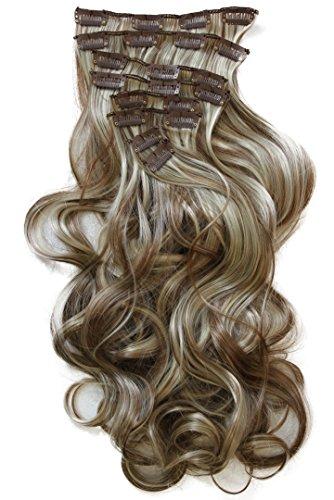 Prettyshop xxl set 8 pezzi clip nelle estensioni estensione dei capelli parte dei capelli fibra sintetica termoresistente ondulato 60 cm marrone bionda mix # 6h613 ces15-1