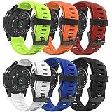 MoKo Garmin Fenix 3 Accesorios, Banda [6 Pzs] Reemplazo de Silicona Suave Deportiva con Herramientas para Garmin Fenix 3 / Fenix 3 HR Smart Watch - Multicolor