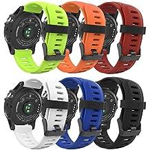 MoKo Garmin Fenix 3 Accesorios, Banda [6 Pzs] Reemplazo de Silicona Suave Deportiva con Herramientas para Garmin Fenix 3 / Fenix 3 HR Smart Watch