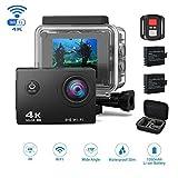 Jindia 4K WI-Fi Action Kamera 16MP Ultra Full HD 170 ° Weitwinkel Cam Helmkamera Wasserdicht bis 30m 2.0 Zoll Display mit 2.4G Fernbedienung mit 2 Wieder Aufladbaren Akkus