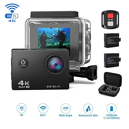 Jindia 4K Wi-Fi Action Kamera 16MP Ultra Full HD 170 ° Weitwinkel Cam Helmkamera Wasserdicht bis 30m 2.0 Zoll Display mit 2.4G Fernbedienung mit 2 Wieder Aufladbaren - Motorrad Wieder Aufladbare