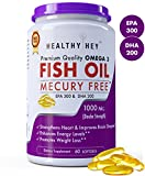 #10: HealthyHey Premium Quality Fish Oil - Omega 3 Double Strength (1000 MG), Mercury Free, Burpless, , 60 Softgel (EPA 300 - DHA 200) | Fish Oil Supplement