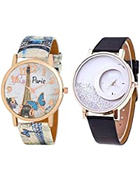 OM Designer Paris Style Dial Round Shaped Leather Belt Diamond Watch (Pack Of 2) Watch- For Women & Girls