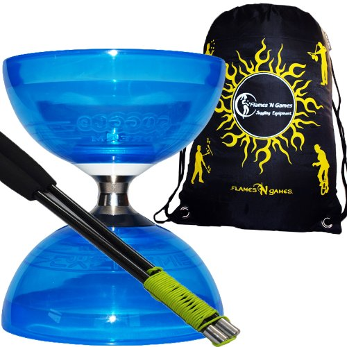 PRO Diabolo HURRICANE Large Triple Roulement Pro Diabolo Kit (Bleu) avec Baguettes en CARBONE, Ficelle Diabolo +Sac de Transport. *Le ultime roulement à billes diabolo set.