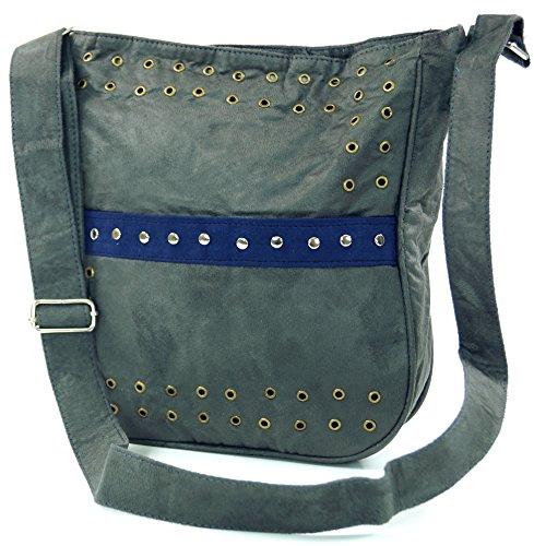 Guru-Shop Schultertasche mit Nieten Bali, Herren/Damen, Kunstfaser, 27x23 cm, Alternative Umhängetasche, Handtasche aus Stoff Grau