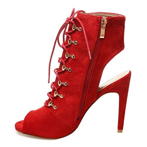La Modeuse - Bottines en suédine peep toes à talons ouvert Rouge