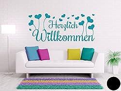 Klebefieber Wandtattoo Herzlich Willkommen B x H: 40cm x 17cm Farbe: Schwarz