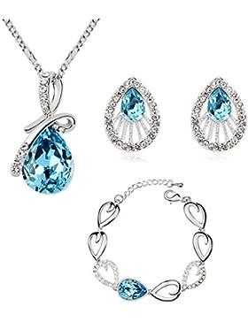 Schmuck-Set mit Swarovski-Kristallen und mit 18 Karat vergoldet - Tropfenform in Blau - Halskette, Armband und...