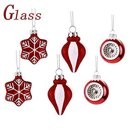 Valery madelyn christmas baubles set 5cm 6 pezzi tradizionali rosso bianco temi lucido scintillante glassato di vetro ornamento di natale con gancio ornamenti per l'albero di natale decorazione
