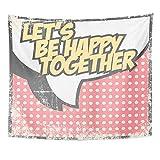 Soefipok Tapicería Tela de poliéster Imprimir Decoración para el hogar Comic Be Happy en Pareja Libro de Texto Burbuja Colgante de Pared Tapiz para la Sala de Estar Dormitorio Dormitorio